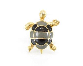 Vintage Turtle Brooch, Black Grey Enamel, Gold Tone