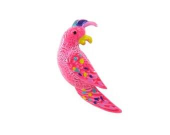 Vintage Enamel Parrot Brooch, Hot Pink, Colorful Parrot, Enamel, Figural Bird