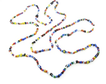 Vintage Art Glass Bead Necklace, Multi Colored, Long, Continuous