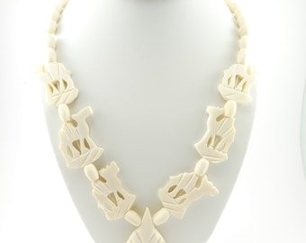 Vintage Camel Necklace, Bone Beads, Creamy White, Carved