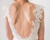 Lace and Chiffon Wedding Dress, Low Back Wedding Dress, Lace Cap Sleeve Ivory Wedding Gown, Romantic Boho Wedding Dress - Evangeline Gown