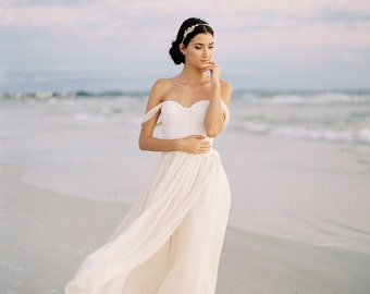 Silk wedding dress etsy chiffon and lace wedding dress ivory silk chiffon wedding dress off the shoulder wedding junglespirit Choice Image