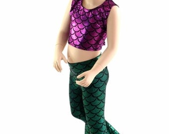 Girls Mermaid Crop Top TOP ONLY in Fuchsia, Silver or Turquoise  Sizes 2T 3T 4T and 5-12   152388