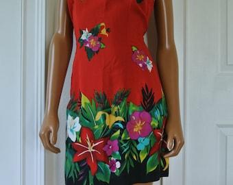 1990s Sheath Mini Dress Red Hawaiian Motif Resort Vacation Hibiscus Garden Print 9/10