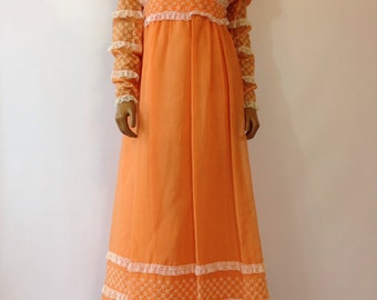 1960s Prairie Dress Hippie Calico California Peasant Coral Peach Gown Size S