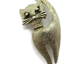 Mamselle Cat Brooch, Vintage Goldtone Kitty Pin, Signed Mamselle Jewelry, Gift for Her