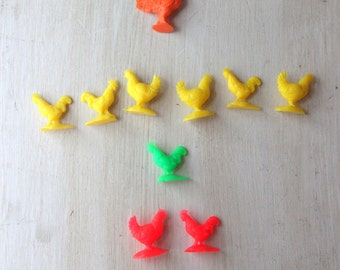 Set of Ten Vintage Plastic Chickens - Farm Animals, Miniature, Child Room, Farmhouse Chic, Neon Red Chickens, Brood of Chickens, WTH-862