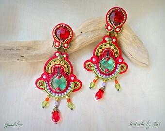 Statement Long Red Gold Soutache Earring, Big Rhinestones Earring, Soutache Earring, Red Gold Green Chandelier Earring, Red Long Earring