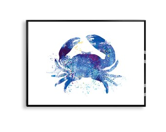 Blue Crab Watercolor painting, Nautical Crab Print, Colorful Crab Illustration, Crab Art Print, Blue Crab Watercolor, crab art print WT01