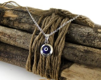 Blue Evil Eye Necklace, Silver Evil Eye Pendant Talisman Necklace, Evil Eye Charm Necklace, Evil Eye Talisman, Evil Eye Jewelry