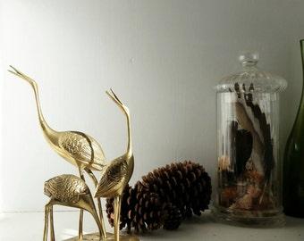 "Vintage 1960s ""Three Brass Storks"" statue - Mid-Century Bird Figure Statue"