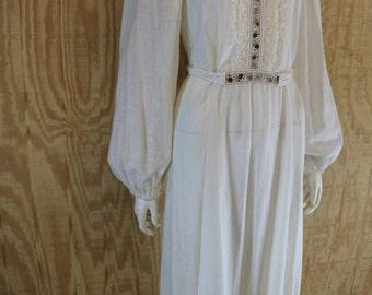 Vintage 1960's WENDY Cotton Muslin Iconic Flower Child Hippie Boho Jacquard Ribbon Peasant Festival Wedding Maxi Dress S M