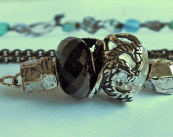 925 Silver Fantasy-Necklace with  a  faceted Hematite Pendant