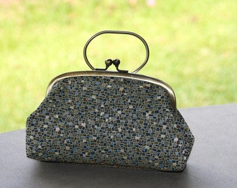 Green stepping stone/ Vintage kimono bag / Clutch with ring/AG frame