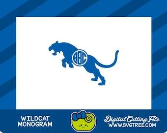 Wildcat SVG, College Monogram, Kentucky SVG, Cats, SVG Files, Vector Art, Cricut Design Space, Silhouette Studio, Digital Cut Files