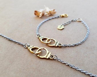 2 Handcuffs Bracelets, Partners in crime bracelets, Best Friends Jewelry, Matching Bracelets, Initial Bracelet, Best friends bracelets, Bff