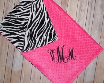 Personzalized Zebra Minky Baby Blanket - Zebra Minky with Hot Pink - Custom Monogram