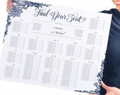 16 x 20 Wedding Seating Chart Poster / Sign (Alphabetical) - INSTANT DOWNLOAD - Editable Text - Ornate Lace (Navy)  - Microsoft® Word Format