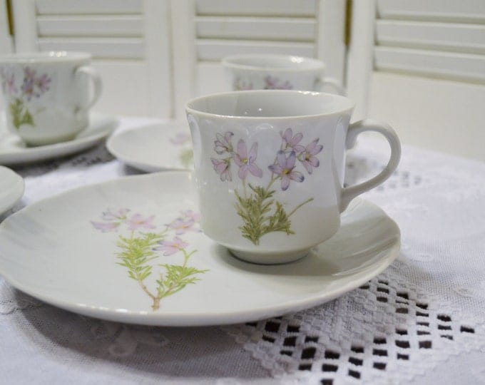 Vintage Toscany Collection Lima Snack Plate Set of 4 Pink Floral Tea Time Coffee Break Panchosporch