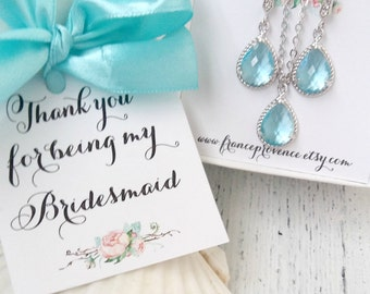 Bridesmaid jewelry set earrings blue and necklaces - Bridesmaid gift set - Blue Silver Bridesmaid Earrings and Necklaces