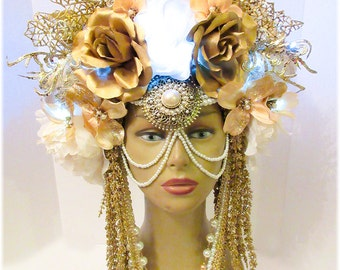 ReadyToShip-White Gold with White LED lights, Head dress, Bellydance, Burning Man, Fantasy Wear,Fairy Headpiece, burlesques