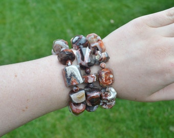 Chunky Laguna Lace Agate Stretch Bracelets, beaded with Octagonal Prisms, Roundels, & Balls (Choose from 2 earthy bracelets)
