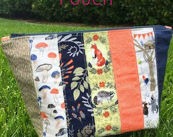 Zipper Pouch Pattern - Patchwork Bag PDF Sewing Pattern - Pencil Case, Makeup Bag, Purse Pouch