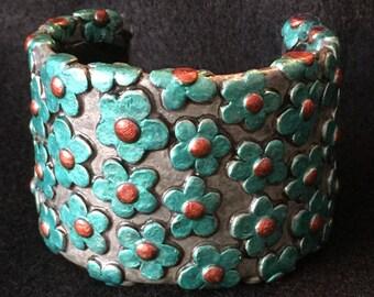 Cuff Bracelet Bangle Boho Polymer Clay Mid Century Modern Jewelry POSY by Donna Pellegata ArtCirque