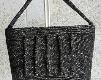 Vintage 40s black caviar beaded bag purse