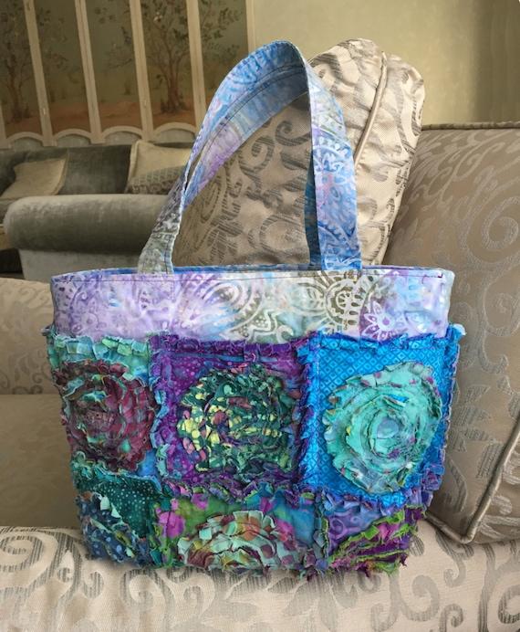 Rag Quilted Handbag Pattern : Rag Bag Purse PDF PATTERN & TUTORIAL plus Free makeup bag