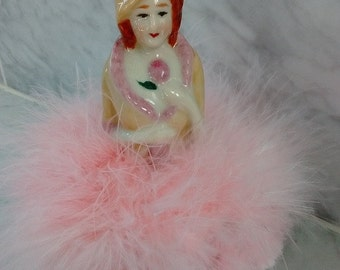 Powder Puff Porcelain Doll with pink boa