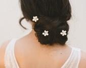 floral hair pins, bridal hair pins, wedding hair pins, flower hair pins, bridal headpiece, wedding hair accessories - CHERIE