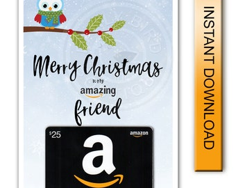 Printable Merry Christmas Amazon Gift Card Holder - Amazing Friend - Digital Instant Download