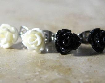 Set of 2 pairs mini rose flower earrings black/cream-white resin stainless steel