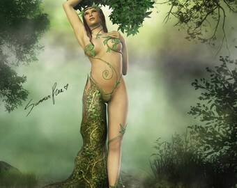 "Mother Nature Art, Dryad, Tree Nymph, Mythology, Fantasy Art, Tree Art, Goddess Art, Pagan Art, Wiccan Art - ""Mother Dryad"" by Summer Rae"
