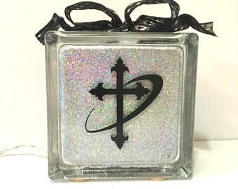 Cross Glass Block - Christian Decor - Vinyl Cross Glass Block -  Black Vinyl Cross -  Religious Decor - Christian Night Light