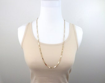Gold Chain Bar Necklace Extra Long Plain Gold Chain Necklace 30 Inch Solid Bar Chain Vintage Long Necklace Jewelry