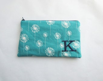 Turquoise Makeup Bag - Teal Cosmetic bag - Bridesmaid clutches - Personalized Pouch with initials - Embroidered Makeup bag - Large