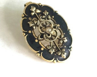 Victorian Revival Black Enamel Brooch Pendant with Faux Pearl, Wear As Necklace or Pin