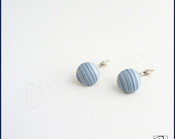 Minimalist Earrings Soft Blue White Dangle Earrings, Geometric Polymer Clay Earrings, Horizon Modern Earrings Sterling Silver Ready to ship