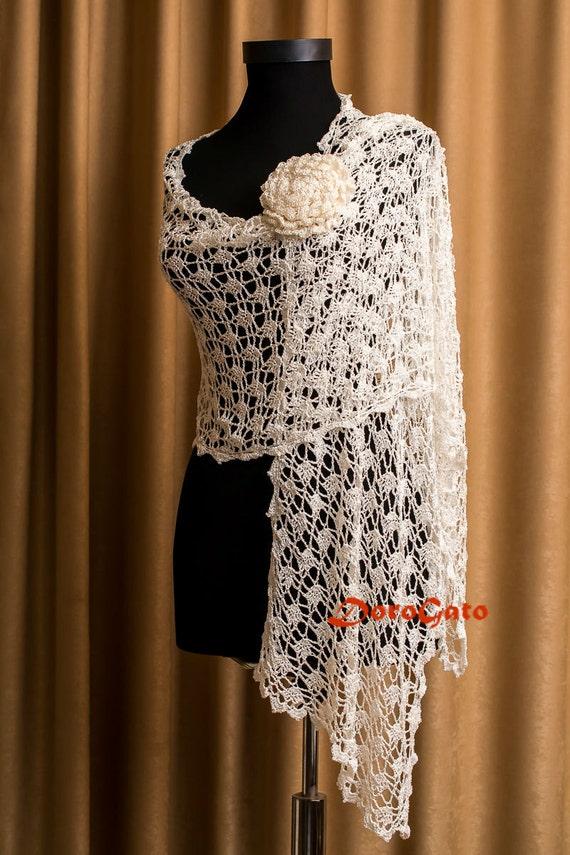Bridal Shawl Wedding Shawl Ivory Crochet Shawl Bridal Cover