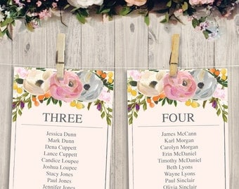 Wedding Seating Chart Template - DIY Printable Wedding Table Arrangement - Sweet Blooms Seating - Hanging Seating Chart - Instant Download
