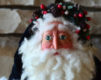 AFTER CHRISTMAS SALE 70% Off - Handcrafted Santa Figure