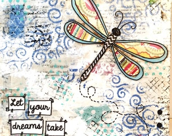 Dragonfly Decor, Mixed Media Art, Whimsical Art, Original painting, Original Mixed Media Painting, Original Art