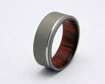 Koa Wood ring with blasted Titanium , Polished groove