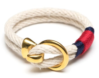 Nautical Rope Bracelet / Gold Hook Clasp Bracelet / Ivory Rope Bracelet / Patriotic Rope Bracelet / Nautical Jewelry / Summer Jewelry