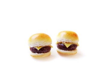 Plain Cheeseburger Post Earrings, Miniature Food Jewelry, Polymer Clay Food Earrings, Cheeseburger Jewelry, Cheeseburger Earrings