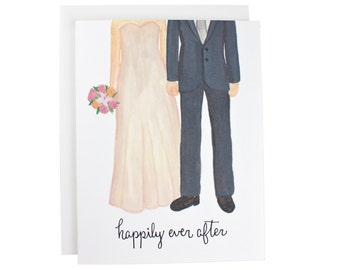 Happily Ever After greeting card, engagement, wedding, couple, calligraphy