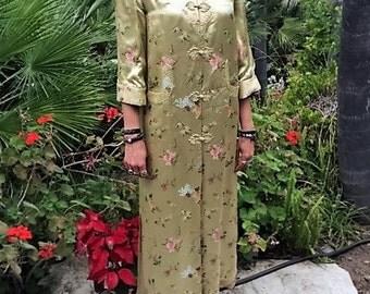 Asian Silk Robe, Gold Silk Robe, Sale, Long Silk Robe, Oriental Robe, Asian Robe, Elegant Robe, Exquisitly Detailed Robe