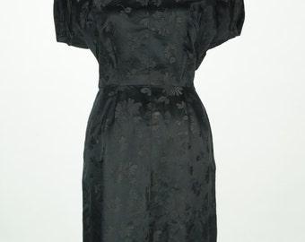 Vintage 1950s Black Floral Satin Brocade Fishtail Dress Size S/M